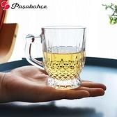 玻璃杯 土耳其進口玻璃茶杯把杯馬克杯菱形紋理玻璃杯子帶把杯子165ml 小衣裡