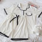 日系ins睡衣女夏季短袖顯瘦2021年新款甜美蕾絲可外穿家居服套裝