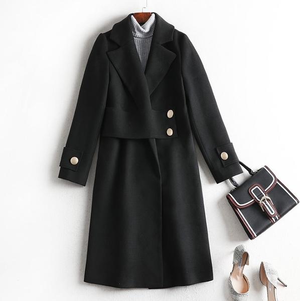 中大尺碼毛呢外套 韓版毛呢長版大翻領顯瘦外套 XL-5XL #lm8525 ❤卡樂❤