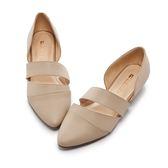 【Fair Lady】有一種喜歡是早秋-鏤空剪裁皮革尖頭平底鞋 杏