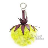 茱麗葉精品【全新現貨】FENDI 7AR577 撞色波羅毛球造型鑰匙圈.紫/黃