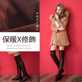 Ann'S正常版-激瘦素面平底彈力側拉鍊過膝靴-羊紋咖