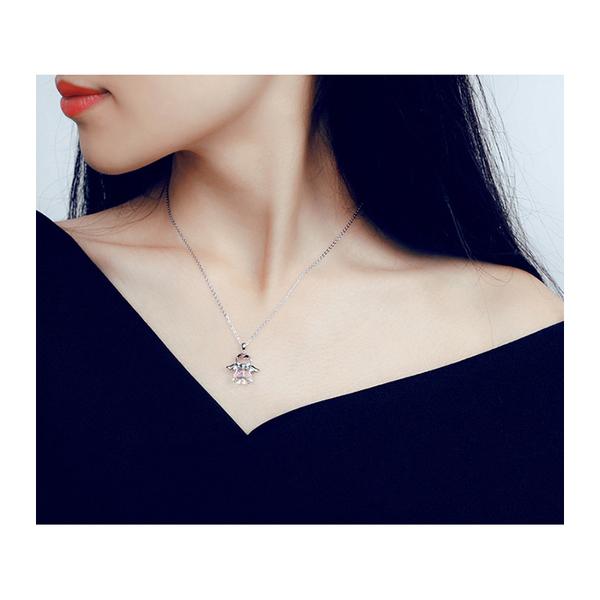 項鍊 翅膀 天使 水晶 創意 設計 氣質 項鏈【DD1703270】 BOBI  05/04