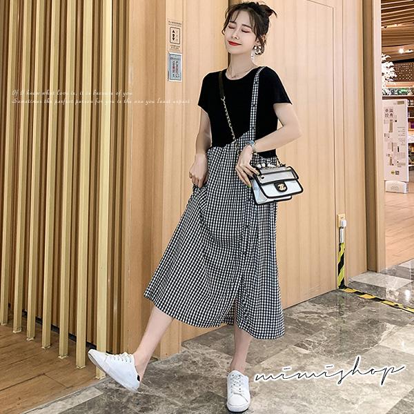 孕婦裝 MIMI別走【P521073】淘氣姑娘 假兩件格子拼接連身裙 孕婦裙 洋裝