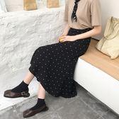 2018新款春季正韓chic復古高腰女半身裙夏中長款波點半身長裙春禮物限時八九折
