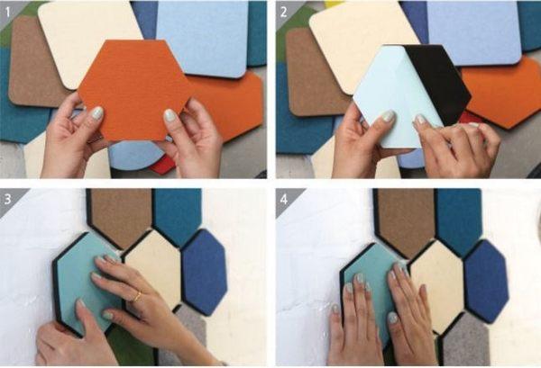 韓國創意毛氈六角形多功能彩色置物牆貼 裝飾板壁飾 留言板【Mr.1688先生】
