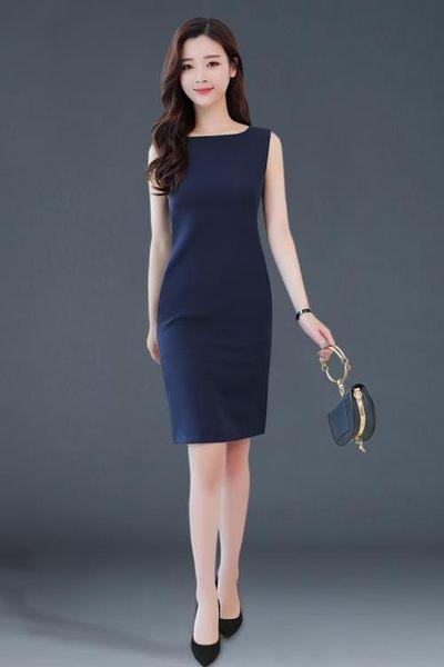 無袖洋裝  2018新款裙子OL背心打底裙修身顯瘦 無袖連身裙