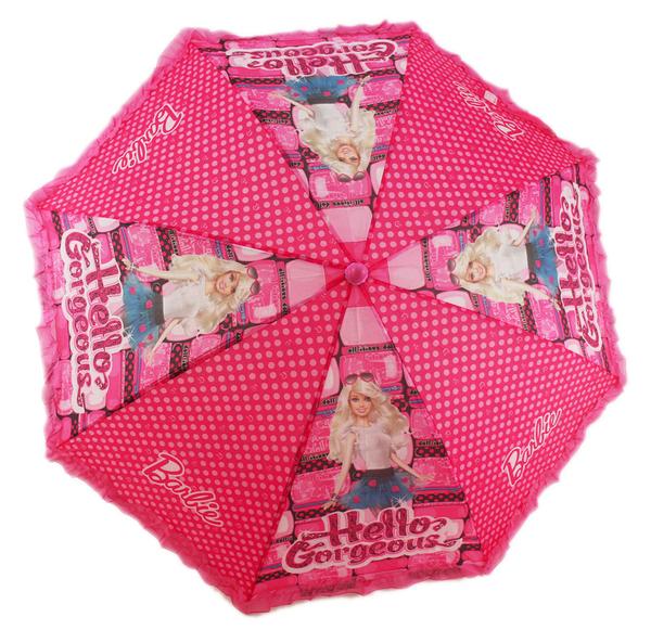【卡漫城】 芭比 童傘 小圖粉點 雨傘 Hello Gorgeous 自動傘 直立傘 Barbie 洋娃娃 按壓 花邊