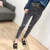 修身高腰雙釦彈性鉛筆褲 CC KOREA ~ Q19391