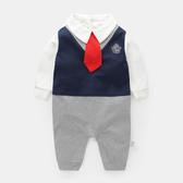 紳士西裝長袖兔子裝 學院風   婚宴花童連身衣(嬰幼兒/baby/新生兒)