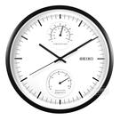 SEIKO 精工 / 兩眼造型 溫度 溼度 滑動式秒針 餐廳客廳臥室 靜音掛鐘 - 白x黑框 #QXA525K