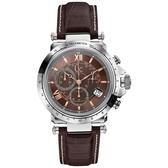 Gc 別緻典藏計時腕錶-咖啡/皮帶