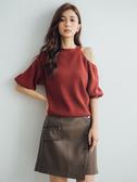 秋冬7折[H2O]不對稱單邊露肩設計六分泡泡袖毛衣 - 紅/卡其/咖啡色 #9650018