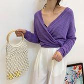 特賣款不退換韓版中長款寬鬆純色小開衫針織外套防曬衣5F034-B.987
