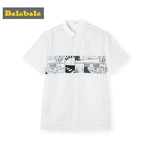 巴拉巴拉童裝男童襯衫短袖夏裝清倉兒童襯衣中大童上衣白色棉