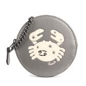 COACH 巨蟹座印花圓形皮革鍊帶零錢包(灰色)198384-2