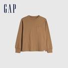 Gap男童 舒適純棉圓領長袖T恤 661665-駝色