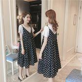 孕婦洋裝 孕婦夏裝洋裝兩件套裝時尚款2019新品吊帶韓版孕婦春裝夏天裙子 2色M-XXL