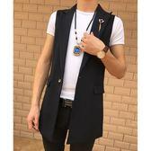青少年理發師男裝馬甲夜店中長款風衣韓版潮流外套發型師帥氣披風     東川崎町