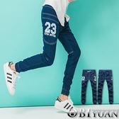 JOGGER牛仔褲【Y0299】OBI YUAN韓版側邊大口袋數字23英文印花抽繩單寧彈性束口褲
