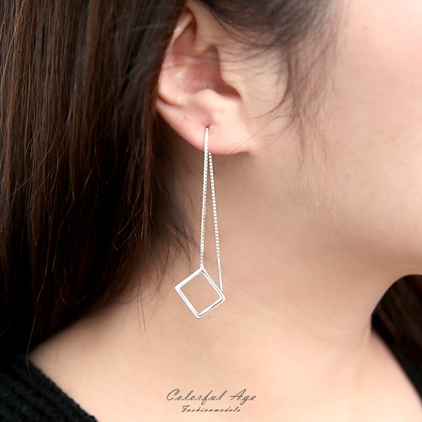 銀飾 垂墜鏤空菱形耳針耳環NPD206