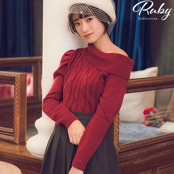 上衣 反摺領麻花不對稱針織長袖上衣-Ruby s 露比午茶