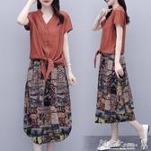 兩件式 棉麻連身裙女夏裝2020新款夏天氣質寬鬆半身裙套裝兩件套亞麻長裙 小宅女