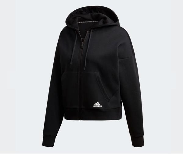 Adidas MUST HAVES 3-STRIPES HOODIE 女款黑色長袖運動外套-NO.DX7970
