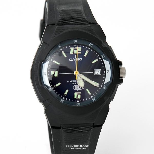 CASIO卡西歐 深藍錶盤夜光刻度運動腕錶 防水100米【NEC129】