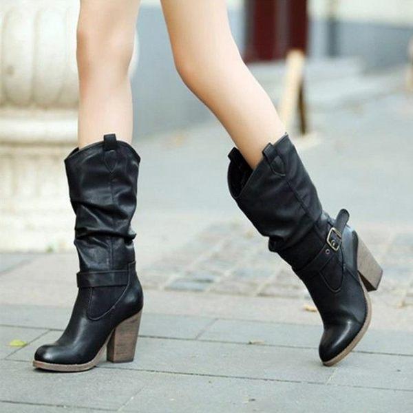 中筒靴 戀足雅秋冬新款靴子女中筒靴加絨復古馬丁靴女粗跟高跟高筒靴 唯伊時尚
