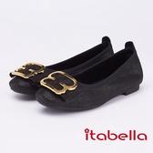 itabella.輕熟魅力 金屬飾釦牛皮包鞋(9211-90黑色)