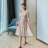 洋裝短袖裙子S-XL新款桔梗少女短袖連身裙碎花雪紡裙淑女甜美H325-9087.胖胖唯依