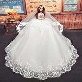 生日禮物擺件巴比新娘婚紗大拖尾套裝兒童節芭比娃娃公主