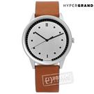HyperGrand / CW02SSHNY / Classic Honey 極簡工業風真皮手錶 銀x咖啡 40mm