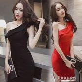 韓國女裝斜肩修身顯瘦包臀性感洋裝/連身裙夏季宴會小禮服 【東京衣秀】