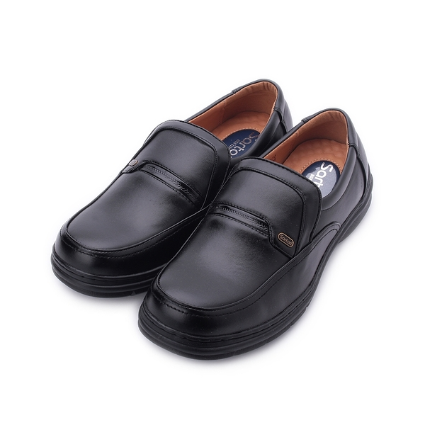 SARTORI 飾釦套式休閒皮鞋 黑 男鞋