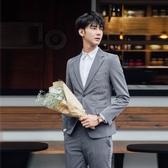 西裝套裝含西裝外套+西裝褲(二件套)-韓版個性拉鍊設計伴郎男西服2色73hc68【時尚巴黎】