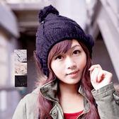 【MIT台灣製】台灣製 發熱羽毛紗+雙層內裡 鑽蝶毛球護耳針織帽 (三色)