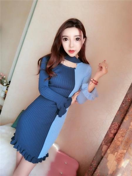 2018秋裝新款韓版氣質韓版氣質掛脖長袖撞色修身魚尾包臀裙洋裝