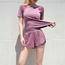 運動套裝 瑜伽健身服女速幹衣薄款顯瘦防走光短褲晨跑步運動套裝女夏-Ballet朵朵