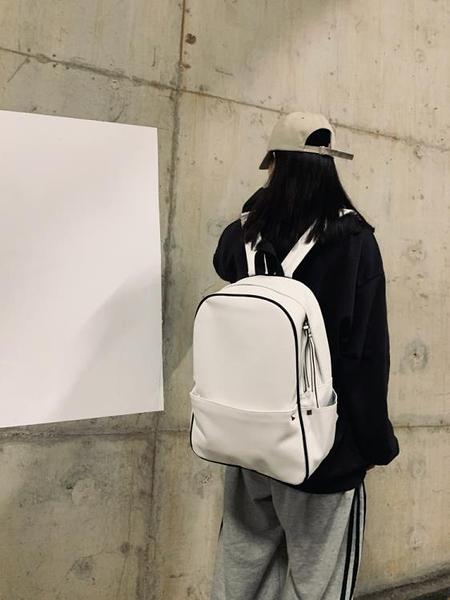 皮革後背包 PU皮書包女ins風大學生韓版原宿ulzzang校園簡約軟皮後背包女百搭 非凡小鋪