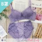 【B罩杯】無鋼圈爆乳款內衣 情緋花舞 成套內衣2566(紫色、綠色)-Pink Lady