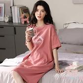 睡裙女夏季短袖純棉孕婦卡通可愛長款睡衣女士夏天【少女顏究院】