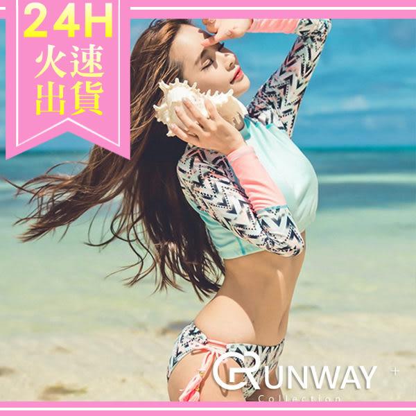 【R】韓國 夏日 性感 甜美 長袖 淺水 衝浪 浮淺 防曬 海灘 比基尼 泳裝 泳衣 二件套式 夏日必備