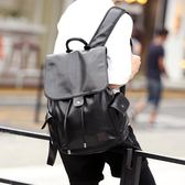 後背包街頭背包後背包韓版皮質商務潮流抽帶時尚背包書包 貝芙莉女鞋