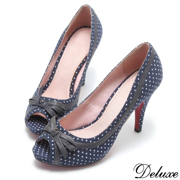 【Deluxe】日韓潮流可愛蝴蝶結圓點魚口高跟鞋(藍)
