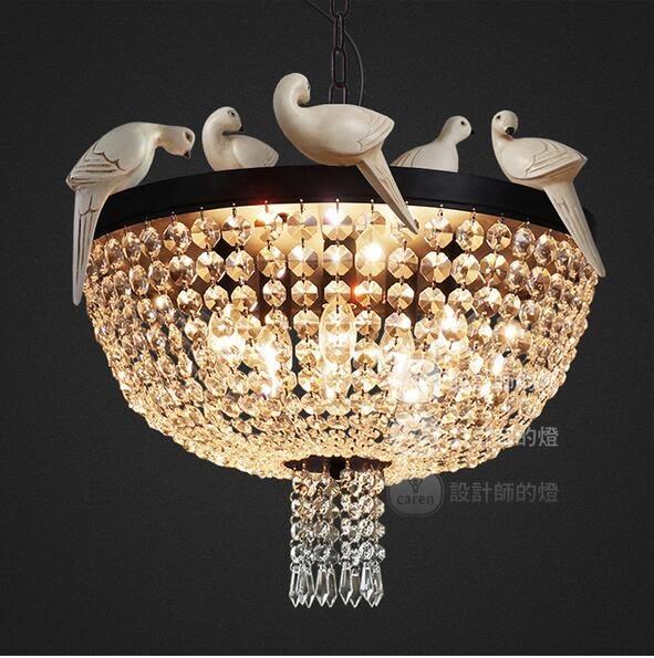 美術燈 美式鄉村小鳥吊燈餐廳燈創意客廳咖啡廳布谷鳥水晶吊燈(大號) -不含光源