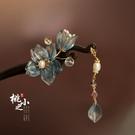 木簪子古風流蘇 盤發頭飾旗袍現代簡約日常款式 琉璃花朵時尚發簪 智慧 618狂歡