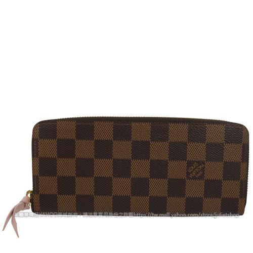 Louis Vuitton LV N41626 Clemence 棋盤格紋拉鍊長夾.粉紅 全新 預購【茱麗葉精品】
