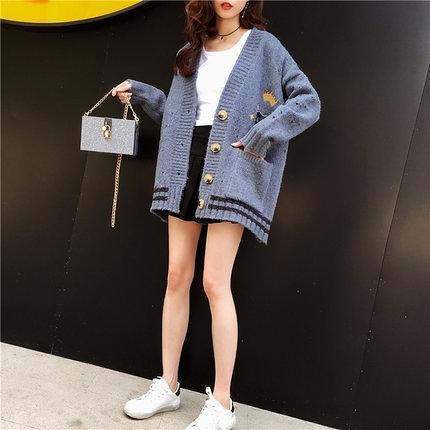 刺繡毛衣開衫女秋冬裝新品寬松中長款慵懶風針織衫外套